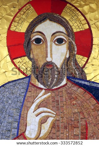 RIJEKA, CROATIA - MAY 06: Jesus, mosaic, Chapel in monastery of the Sisters of Charity of St. Vincent de Paul in Rijeka, Croatia on May 06, 2013 - stock photo
