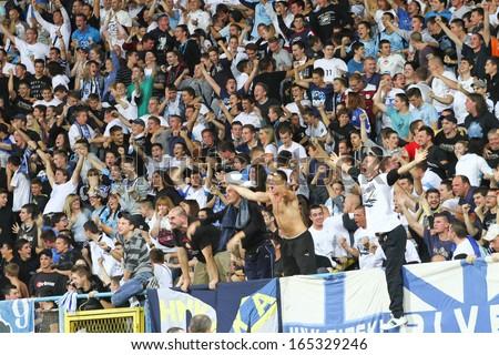 RIJEKA, CROATIA SEPTEMBER 28: soccer fans celebrating at derby match between NK Rijeka and NK Hajduk on September 28, 2013 in Rijeka. - stock photo