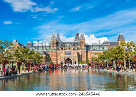 Rijksmuseum Amsterdam museum with words I Amsterdam - stock photo