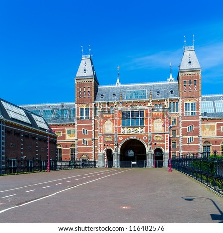 Rijksmuseum, Dutch national museum (1876-1885) in Amsterdam, Museumplein - stock photo