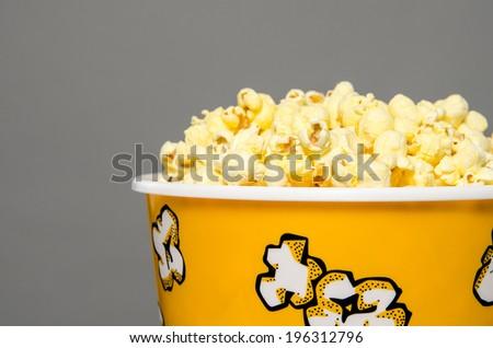 Rim of popcorn bucket - stock photo