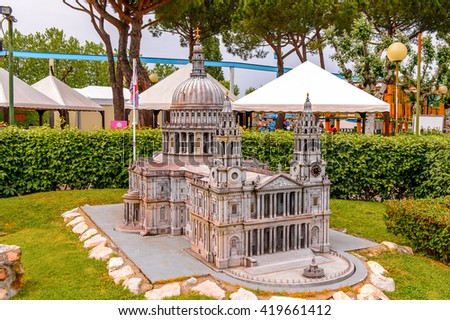 RIMINI, ITALY - MAY 11, 2016: Europe part,  Italy in miniature, a thematic park in Emilia Romagna. It was found by Ivo Rambaldi in 1970