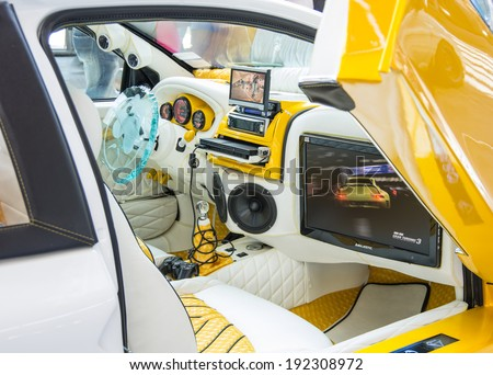 "RIMINI,ITALY - MAY 10, 2014: interior of undefined car exposed at ""My Special Car"" motorshow on May 10,2014.My Special Car is a tuning motorshow that takes place every year in Rimini,Italy."