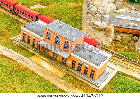 RIMINI, ITALY - MAY 11, 2016: Raiway station at Italy in miniature, a thematic park in Emilia Romagna. It was found by Ivo Rambaldi in 1970