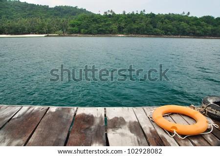 Ring along the waterfront at sea - stock photo