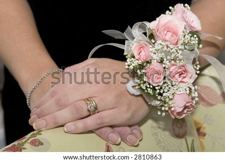 Ring and flowers - stock photo