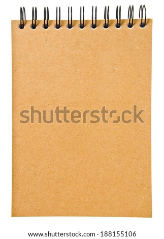 ring binder brown book or recycled paper notebook isolated on white background, clipping path - stock photo