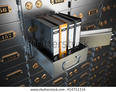 Ring binders on a safe deposit box. Confidential information concept. 3d illustration - stock photo