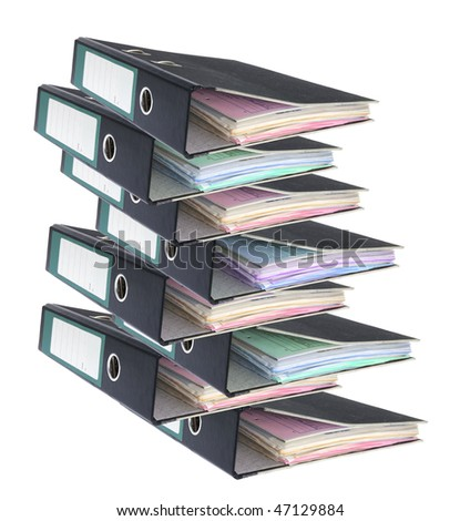 Ring Binders on Isolated White Background - stock photo