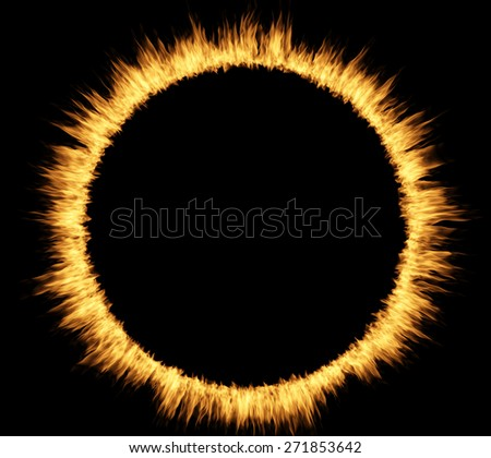 Ring circle of fire over black - stock photo