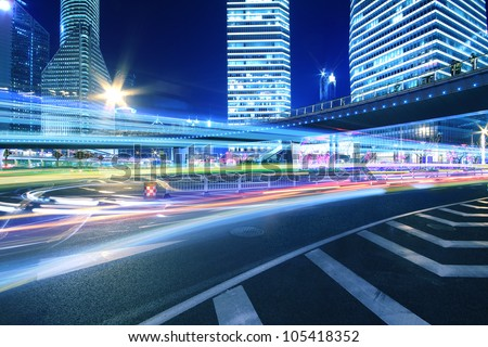 Ring Highway at night with light trails in shanghai cityscape China