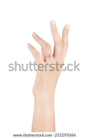 Ring in hand woman isolate on white background.