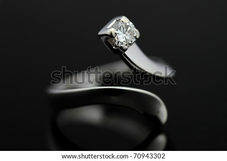 Ring in white gold and diamond - stock photo