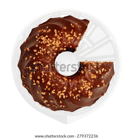 Ring-like chocolate cake with nut crumbs. One piece was cut off. This made the image similar to a business or financial diagram, pie chart or infographics in a concept of 'part and whole'.  - stock photo