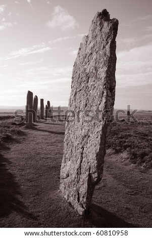 Ring of Brogar in the Orkney Isladnds, Scotland - stock photo