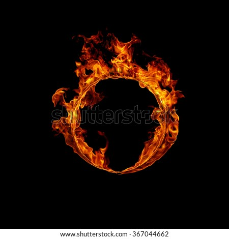 Ring of fire in black - stock photo