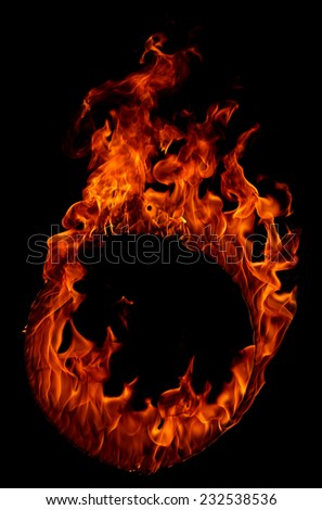 Ring of fire isolated in black background  - stock photo