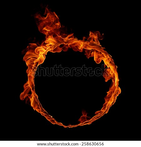 Ring of fire isolated in black background