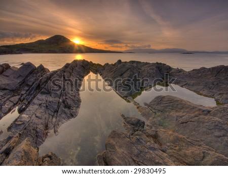 Ring of Kerry sunrise, Ireland - stock photo