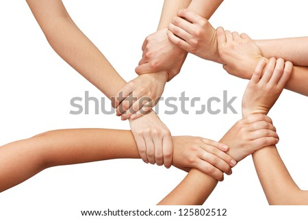 Ring of many hands teamwork - stock photo