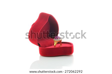 Ring of the jewelry in a gift box on white background - stock photo