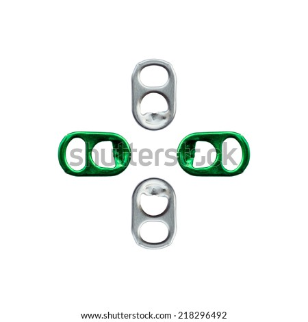 Ring pull of cans isolated on white background - stock photo