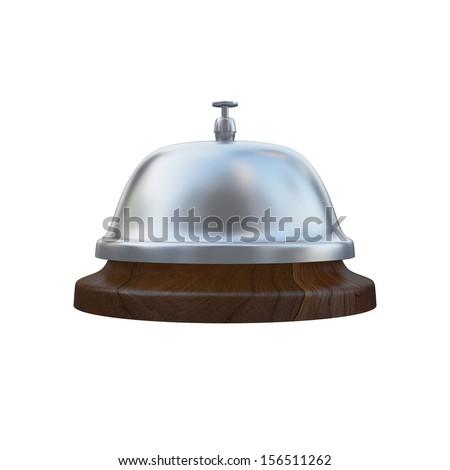 Ring Service Alarm isolated on White background, Wooden base - stock photo