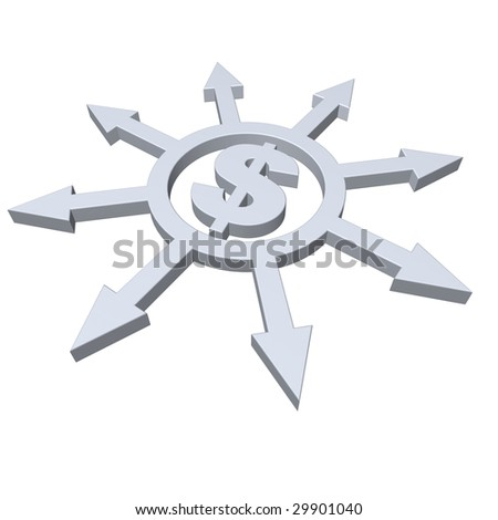 ring with arrows in all directions and dollar symbol - 3d illustration - stock photo