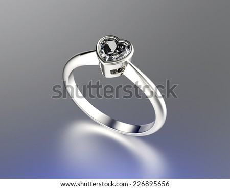 Ring with  Garnet heart shape. Jewelry background