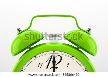 Ringing alarm clock. Green table shelf vintage clock on white background. Deadline, wake up, time is up, act fast, sale reminder, hot prices concept. - stock photo