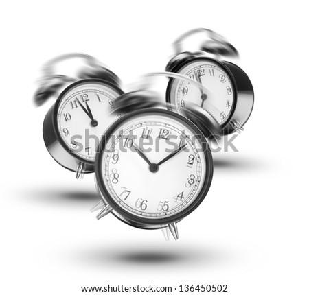Ringing alarm clocks on white background - stock photo