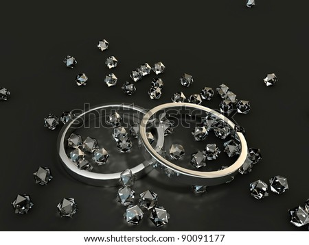 rings and diamonds isolated on black background - stock photo
