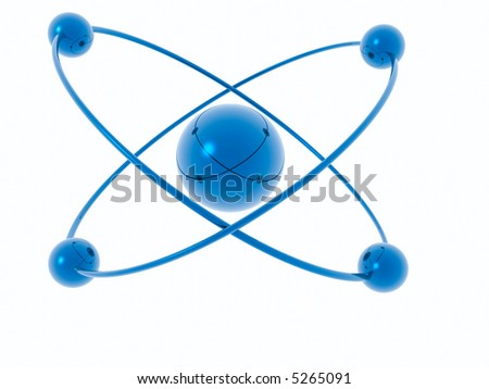 Rings and spheres isolated on a white background - 3d scene.