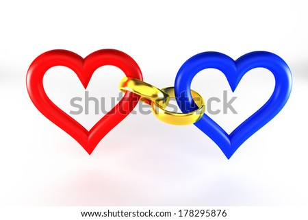 Rings connect heart   - stock photo