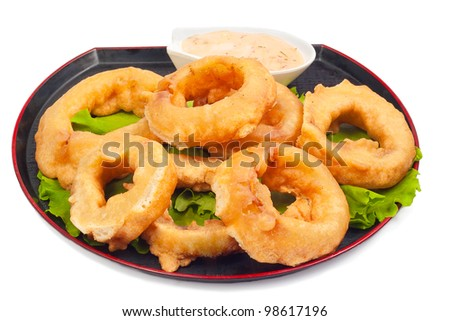 rings deep-fried  on white background - stock photo