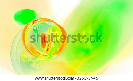 Rings of colored smoke. Bright air bubbles under water. Abstract image. Fractal Wallpaper on your desktop. Digital artwork for creative graphic design. Widescreen. Light background. - stock photo