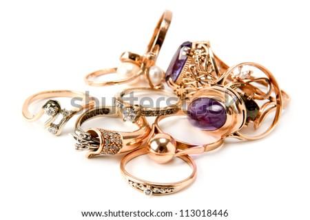 rings of precious metals - stock photo