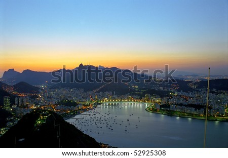 Rio after sunset - stock photo