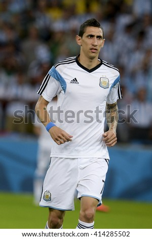 RIO, BRAZIL - June 15, 2014: Angel DI MARIA of Argentina during the 2014 World Cup. Argentina is facing Bosnia in the Group F at Maracana Stadium