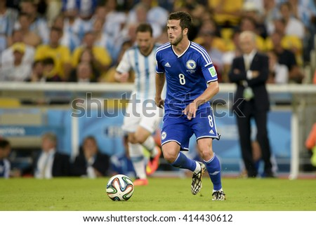 RIO, BRAZIL - June 15, 2014: Miralem PJANIC of Bosnia and Herzegovina during the 2014 World Cup. Argentina is facing Bosnia in the Group F at Maracana Stadium - stock photo