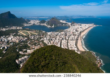 Rio de Janeiro Aerial View Overlooking Ipanema Beach, Rodrigo de Freitas Lagoon and Corcovado Mountain - stock photo