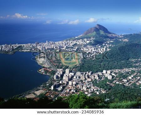 Rio de Janeiro and South Atlantic Ocean, Brazil - stock photo