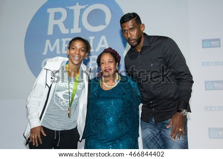 RIO DE JANEIRO, AUGUST 10, 2016: judoka Rafaela Silva, Golden medal in olympic games of Rio de Janeiro, Luislinda Valois and goalkeeper Aranha during a press conference in Rio Media Center.