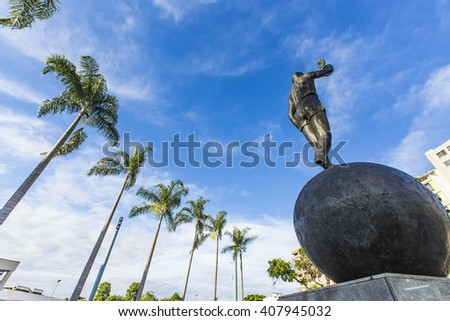Rio de Janeiro, Brazil - April 2, 2016: A statue at front of Maracana Stadium, world famous soccer stadium, will host 2014 FIFA World Cup and opening & closing ceremony of 2016 Rio Olympics. - stock photo