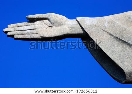 RIO DE JANEIRO, BRAZIL - APRIL 09, 2008: Corcovado christ redeemer right hand detail - stock photo
