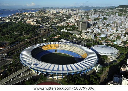 Rio de Janeiro, Brazil-April 11, 2010: Maracana Stadium, world famous stadium, originally built in 1950 for FIFA World Cup, will host 2014 World Cup and opening & closing ceremony of 2016 Rio Olympics - stock photo