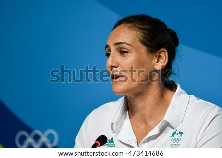Rio de Janeiro, Brazil - august 04, 2016:  Bronwen Knox player during the Australian water polo press conference held in the press room of the Olympic Park in Rio de Janeiro, RJ.