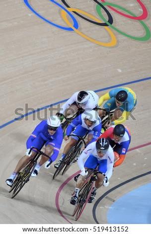 Rio de Janeiro, Brazil - august 17, 2016: Cycling Athlete bike while competing in Keirin First Round Repechages, at Rio Olympic Velodrome, Olympic Gamers 2016 Rio De Janeiro, Brazil.