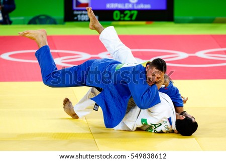 Rio de Janeiro, Brazil. August 11, 2016. JUDO - MEN -100 KG FINAL - GOLD MEDAL CONTEST match between GASIMOV Elmar (AZE) and KRPALEK Lukas (CZE) at the 2016 Summer Olympic Games in Rio De Janeiro.