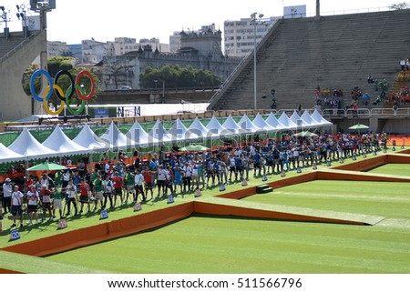 Rio de Janeiro, Brazil - august 05, 2016: Line athletes during the Archery Rio Olympics 2016 held at the Sambadrome in the qualifying Round.